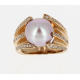 Bague or rose, perle d'eau douce & diamants
