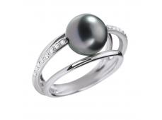 Bague - Diamants, perle de Tahiti, or blanc