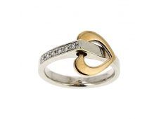 Bague - Diamants, or jaune et blanc