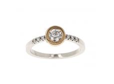 Bague - Diamants, or blanc et rose