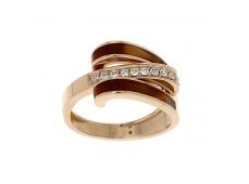 Bague - Diamants, résine et or rose