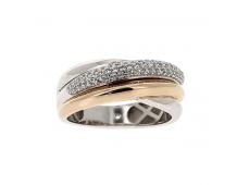 Bague - Diamants, or blenc et rose