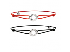 Bracelet - Or blanc, cordon rouge