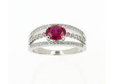 Bague or blanc, rubis & diamants