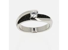 Solitaire accompagné or & diamants blancs et noirs